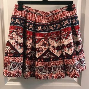 Red, Cream, and Navy mini skirt